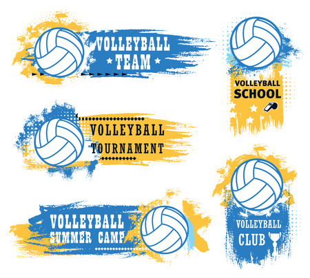 Volleyball sport game tournament vector icons of balls, championship match winner trophy cup and referee whistle with blue and yellow brush strokes. Volleyball sport club or team emblems design