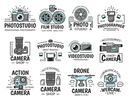 Photo and film studio icons with digital and video camera, lens, flash and movie projector, shutter and cinema film reel isolated vector symbols of photography and video production emblems design
