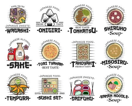 Japanese food icons with thin line dishes of sushi, roll, nigiri and onigiri. Vector ramen noodle soup, tempura shrimp and sake, wagashi candy, fried pork tonkatsu, bean dessert soup and rice tyahan