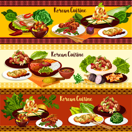 Korean dishes of rice bibimbap, bbq beef bulgogi with mushrooms and kimchi pork meat stew, green onion pancake, fried tofu with vegetables and ginger cookie. Asian cuisine food vector design