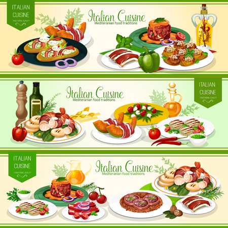 Italian meat, vegetable and seafood dishes with focaccia bread, cheese, olive oil and pesto sauce. Grilled meat, shrimp and tomato feta salads, beef tartare, melon with prosciutto and meatball. Vector  イラスト・ベクター素材