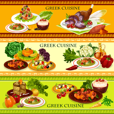 Greek seafood dishes of shrimp risotto, vegetable beef stew stifado and lamb with olives and cheese, mushroom salad, fish roe sauce taramosalata and rice pudding. Mediterranean cuisine vector theme