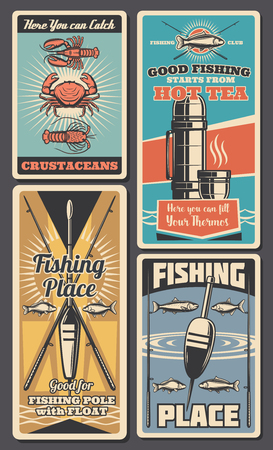 Fishing tackle and bait shop retro banners of rod, hook and lure, fish, spinning and float, salmon, trout and tuna, crab, lobster and bass. Fisherman sport equipment, gears and accessory store vector