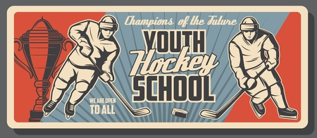 Ice hockey player with stick, puck, skates and winner trophy cup on rink. Hockey sport school of youth game league retro banner. Sporting education vector themes