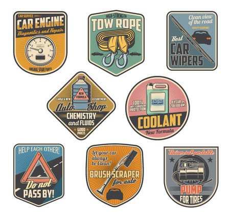 Car accessories retro badges with auto parts of vehicle repair service and auto shop. Motor oil, automobile engine coolant and wipers, tow rope, tire air compressor and speedometer vector icons design Foto de archivo - 114744586