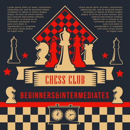 Affiche de club de sport de jeu d'échecs avec pièces vectorielles et échiquier. Chevalier, tour et pion, reine, fou et roi avec horloge à bord. Conception d'un tournoi d'échecs ou d'un événement de compétition Vecteurs