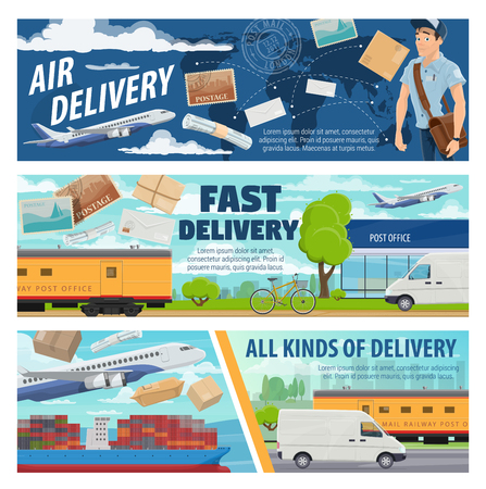 Postal service mail delivery, transporting letters or parcels vector design. Postman or courier with road, air freight, railway and marine shipping transport, airplane, container ship, truck and train