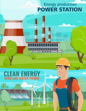 Power industry poster with clean and dirty electricity energy production. Polluting thermal power station and renewable sources of water and wind power plants. Ecology and environment vector theme
