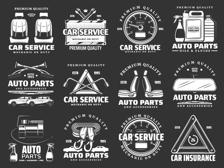Auto parts and car accessories icons of car repair service and auto mechanic garage. Motor oil, tire, spanner or wrench, car seats, wiper and mirror, speedometer and filter badges or emblems vector Illustration