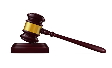 Judge hammer, decision mallet realistic vector, judge equipment. Vector court item, justice and verdict announcement, guilty or innocent. Judicial branch of power symbol, auction object isolated