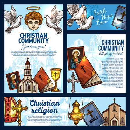 Christian religion sketch posters with symbols of Christianity, Catholicism and Orthodoxy. Holy Bible Book, church and crucifix cross, saint icon, angel with halo, chalice and dove birds vector design