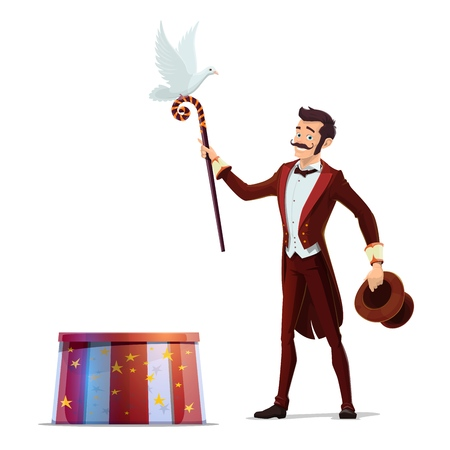 Circus magician performing tricks with top hat, magical wand and white dove bird. Illusionist magic show of carnival amusement, chapiteau event and entertainment vector theme Ilustrace