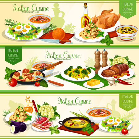 Italian pasta dishes with meat, fish and vegetables. Vector spaghetti, linguine and penne with cheese, tomato and pesto sauce, meatball and broccoli, baked pork, soups, tuna salad with egg and olives
