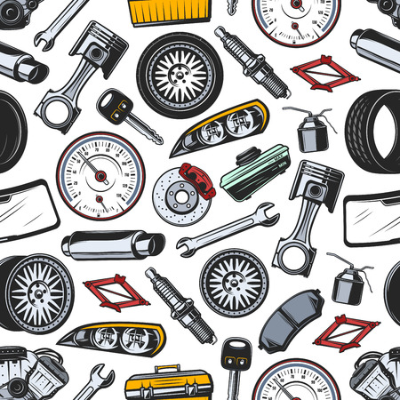 Car spare parts seamless pattern background of auto vehicle details and accessories. Vector piston, engine and spark plug, gear, wrench and starter, wheel, brake and exhaust pipe. Transportation theme Stock Illustratie