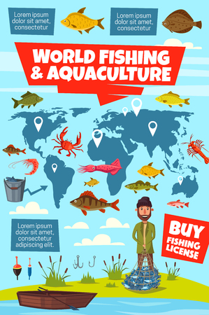 World fishing and aquaculture vector infographics. Fisheries map with fish stocks pointers, fisherman with net, fish catch, fishing boat and equipments, perch, bass and cod, trout, carp and bream Иллюстрация