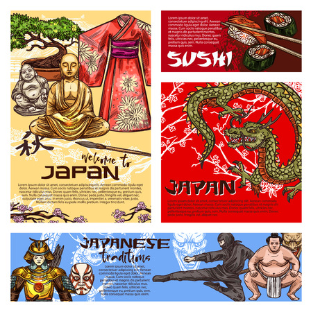 Japan travel posters with japanese culture symbols. Buddha statue, dragon and pagoda temple, sushi, bonsai and sakura, kimono and samurai, ninja, sumo wrestler and theater noh mask vector sketch