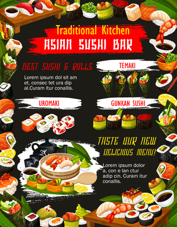 Japanese sushi roll with rice, salmon fish and nori seaweed, seafood, shrimp and avocado, nigiri, uramaki, temaki and gunkan, chopsticks, tea set, soy and wasabi sauce. Asian sushi bar menu vector