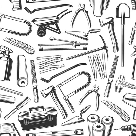 Work tools seamless pattern background with construction and house repair equipments and instruments. Vector hammer, wrench and paint roller, trowel, toolbox and shovel, axe, tape measure and ruler
