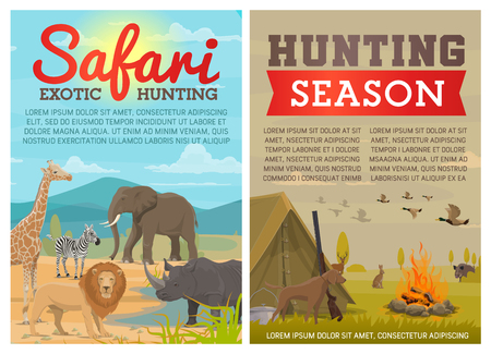 Hunting sport and safari tour posters with forest and savanna animals. Hunter gun, dog and duck, elephant, lion and rhino, deer, boar and zebra, giraffe, tent and campfire. Hunting season vector theme