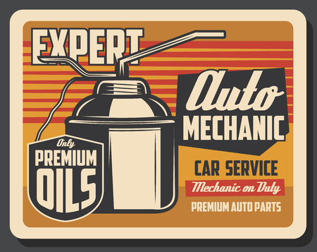 Motor oil can pourer retro poster of car repair service, auto mechanic garage and engine lubricant change shop. Vintage oil can vector signboard design of engine lubrication system diagnostics Stock Vector - 114800451