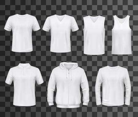 Hemdenvorlage aus weißem leerem T-Shirt, Polo und Hoodie, Tanktop, Sweatshirt, Langarm- und ärmellosem T-Shirt-Modell. Vorderansicht von Sportkleidung und Uniform, Werbung oder Werbevektorthema