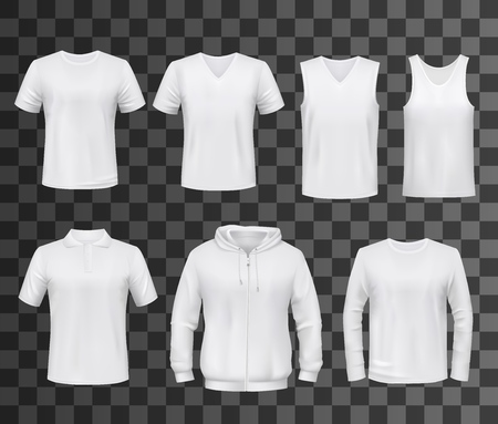 Shirts template of white blank t-shirt, polo and hoodie, tank top, sweatshirt, long sleeve and sleeveless tshirts mockup. Front view of sport clothes and uniform, advertising or promotion vector theme