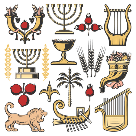 Israel judaism religion and culture symbols. Vector jewish menorah, Jerusalem lion of Judah and cornucopia with pomegranate, grape and wheat, date palm, King David harp or lyre and boat of Zebulun