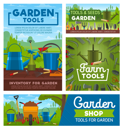 Tools of garden works and farming. Rake, shovel and watering can, fork, hose and trowel, bucket, axe and saw, spade, pruner and pitchfork. Farming instruments and equipments shop vector design