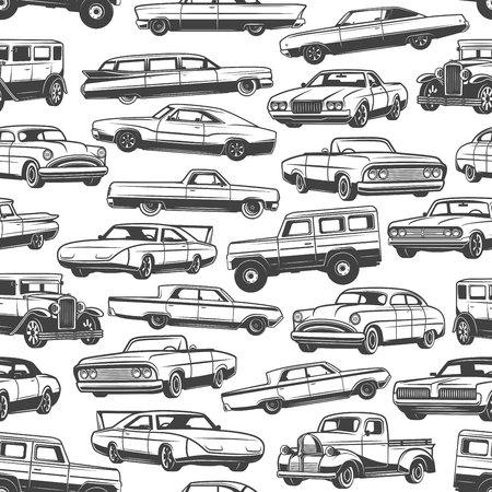 Cars and vintage auto seamless pattern background of retro vehicle models. Vector sedan, sport coupe and hatchback, pickup, van and sport utility vehicle black and white backdrop. Transportation theme  イラスト・ベクター素材