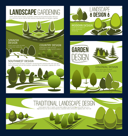 Landscaping service, landscape design and park planning, lawn care and gardening. Landscaping maintenance and landscape architecture of garden, square and parkland with green trees and plants. Vector Stockfoto - 114800454