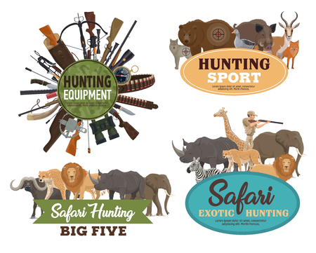 Hunting sport vector badges with animals, hunter guns and equipments. Huntsman rifle, bear and african safari elephant, wolf, lion and boar, binoculars, compasses and knife, hunting club round banners