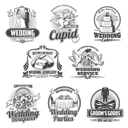 Wedding ceremony and marriage vector icons. Love heart, gift and cake, bride dress and groom bow, bridal bouquet, church and rings, dove, cupid arrows and balloon. Wedding salon and service design