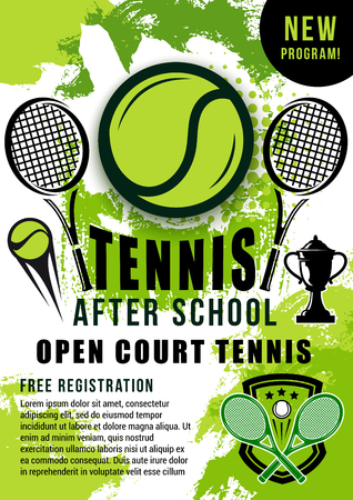 Tennis sport ball, rackets and winner trophy cup halftone poster. Open court tennis school trainings announcement or sporting tournament promotion vector theme Illustration