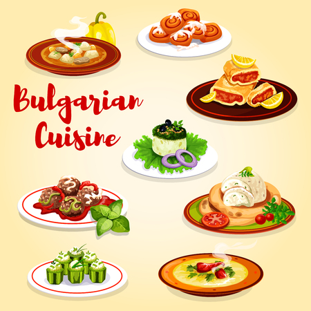 Bulgarian cuisine beef meat soup with pepper, stuffed cucumber vegetable with bryndza cheese and yogurt salad. Vector meatball, eggplant pate, lemon cake and cinnamon buns pastry desserts Иллюстрация