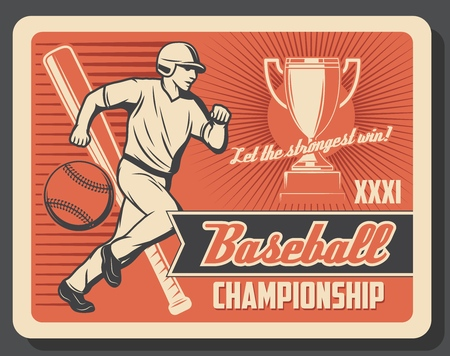 Baseball or softball sport game player with ball, bat and winner trophy cup. Running batter and sporting equipments vector poster of baseball tournament match or championship competition theme Illustration