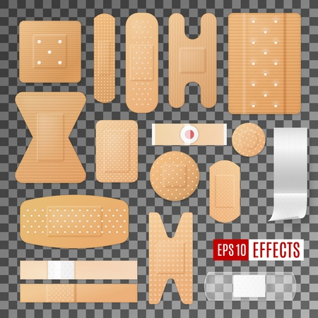 Medical plaster, first aid bandage, band and patch 3d vector icons. Different types of adhesive and breathable wound dressing, injury tapes and corns strips on transparent background. Healthcare theme
