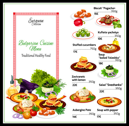 Bulgarian cuisine restaurant menu of yogurt salad and eggplant pate snacks with beef pepper soup, meatballs and lemon cake roll, stuffed cucumbers with cheese and cinnamon bun dessert. Menu vector Иллюстрация