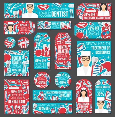 Rabattkarten und Tags für Zahnkliniken. Zahnpflege, Zahnbehandlung und Mundhygiene Sonderpreisangebot mit Zahnarzt, Zahnspangen und Werkzeugen, Zahnseide, Zahnpasta und Zahnbürstenvektorsymbolen