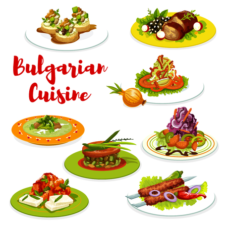 Bulgarian dishes of grilled meat with vegetables and cheese. Beef kebapche, cabbage and pepper salads, eggplant tomato chutney lutenica with bryndza, lamb, zucchini toast and meatball soup. Vector