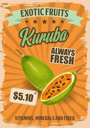 Kuruba exotic fruit or tropical banana passionfruit retro price tag. Curuba berry of Peruvian passiflora plant with green skin, orange pulp and black seeds. Vegetarian food of farm market. Vector