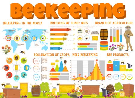 Infographie apicole avec produits du miel et graphiques d'élevage d'abeilles. Graphiques circulaires avec apiculteur et ruche rucher, diagramme de fleurs d'abeilles et de nids d'abeilles et carte du monde statistique apicole. Vecteur Vecteurs
