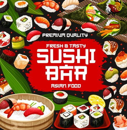 Sushi bar and japanese cuisine restaurant menu. Rice, salmon fish and seafood nigiri, california, philadelphia and uramaki sushi rolls, temaki, hosomaki and gunkan asian dishes vector frame