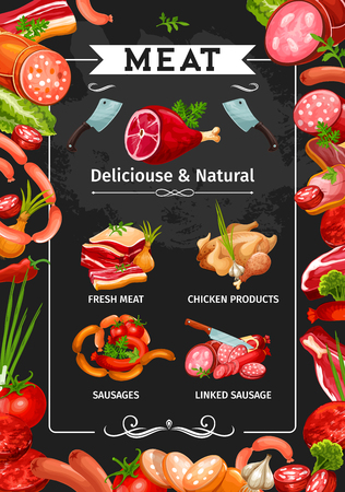Meat products, sausages and delicatessen food frame on blackboard. Vector beef steak, pork roast and ham, salami, bacon and chicken, smoked frankfurter and burger patty with vegetables, spices and herbs