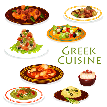 Greek cuisine shrimp risotto, fish soup and vegetable beef stew stifado, mushroom salad, lamb leg with olives and feta cheese dishes. Cod roe dip sauce and rice pudding dessert. Food vector design