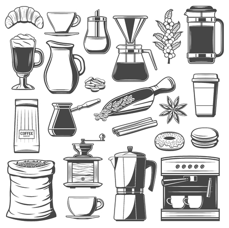 Coffee vector icons with cup and mug of hot drinks, espresso machine, cafe tools and equipments. Bean grinder, pot and sugar, croissant, kettle and chocolate beverage, scoop, cezve and french press Illustration