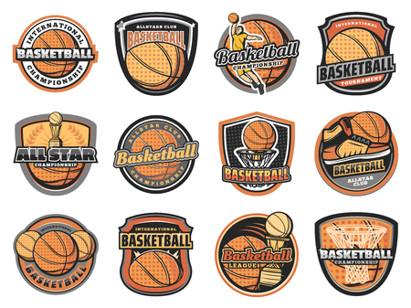 Basketball sport game vector icons with halftone orange balls, basket hoop and team player, winner trophy cup and sneakers. Basketball club, championship tournament or sport league symbols design