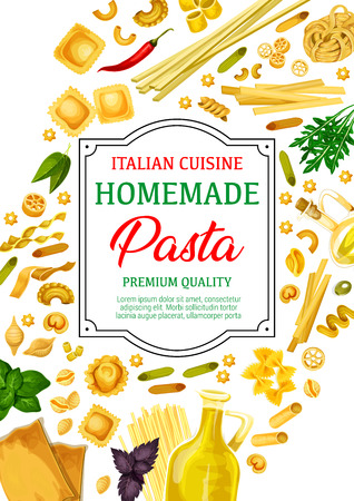Pasta, different shapes of macaroni and spaghetti with Italian cuisine spices and herbs. Vector farfalle, penne and fusilli, ravioli, conchiglie and lasagna, tortellini, rotelle, basil, olive oil 일러스트
