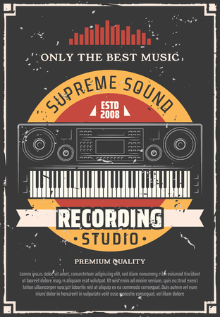 Sound and music recording studio retro poster of electric piano keyboard and sound equalizer wave with vinyl record on background. Professional equipments of musician, singer and speaker vector theme