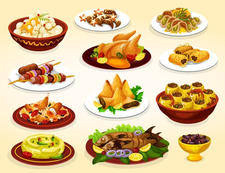 Ramadan vakantie eten van iftar party arabische gerechten. Dadelvruchten, baklava en samosa islamitisch dessert, kiprijst biryani, gegrilde kebab en vis, hummus, gevulde courgette en halve maan koekje