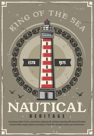 Lighthouse nautical heritage vintage poster with marine beacon in frame of sailing ship chain and seagulls. Striped searchlight tower of navigational aid and maritime travel safety vector theme